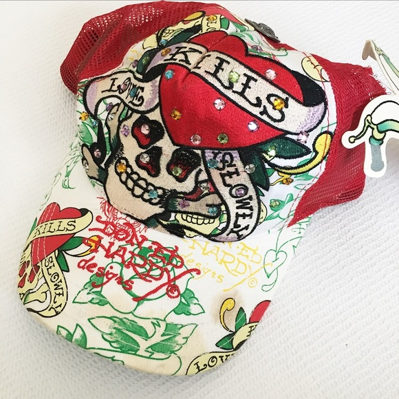 98b6a489219 Ed Hardy Mesh Trucker Hat   Love Kills Slowly